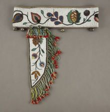 American Indian Art:Beadwork and Quillwork, A CHIPPEWA BEADED CLOTH KNIFE SHEATH AND BELT. c. 1900... (Total: 1Items)