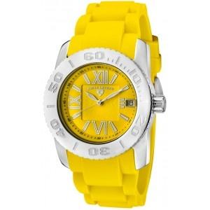 Reloj Swiss Legend Commander Lady SL-10114-07 con caja de acero inoxidable pulido y pulsera de caucho color amarillo. #relojes #watches