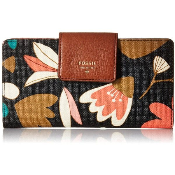 Fossil Sydney Tab 1 Wallet ($50) ❤ liked on Polyvore featuring bags, wallets, two tone wallet, slim wallet, fossil bags, fossil wallet and brown bag