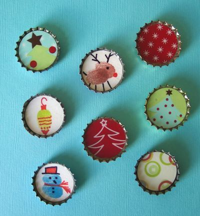 DIY Gift Ideas for kids to create: Bottle Cap Magnets. #holidayentertaining