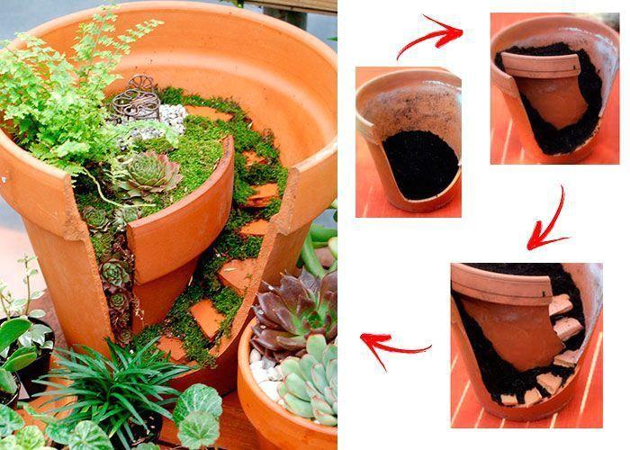 Миниатюрные сады в разбитых горшках (подборка, Diy) / Цветы, вазы и цветочные горшки / ВТОРАЯ УЛИЦА