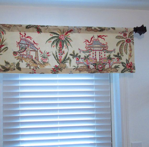 Thibaut Pagoda Curtain Valance Asian Print Tea House by OldStation