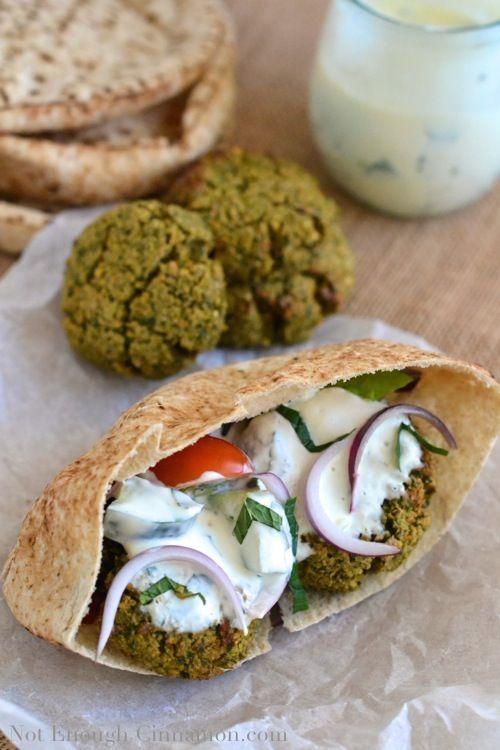 Baked Falafel Pita Sandwich | notenoughcinnamon.com - @NECinnamon #recipe #vegetarian #healthy