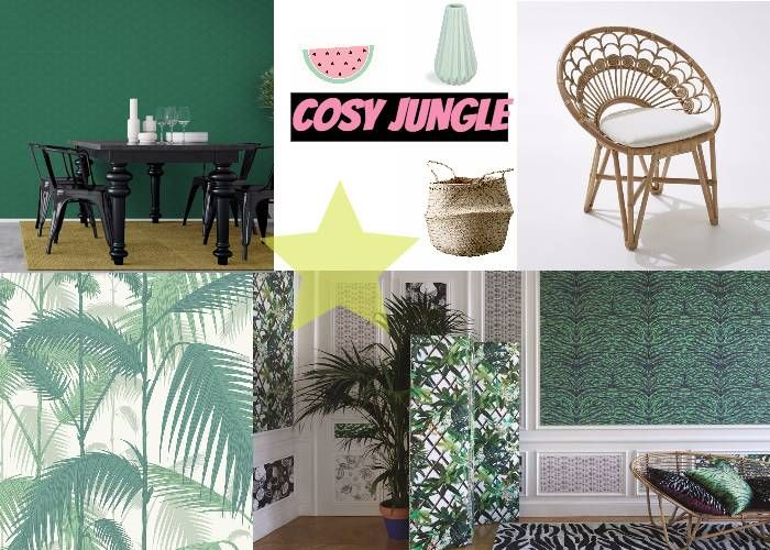 Deco jungle jungles rattan planks green color schemes