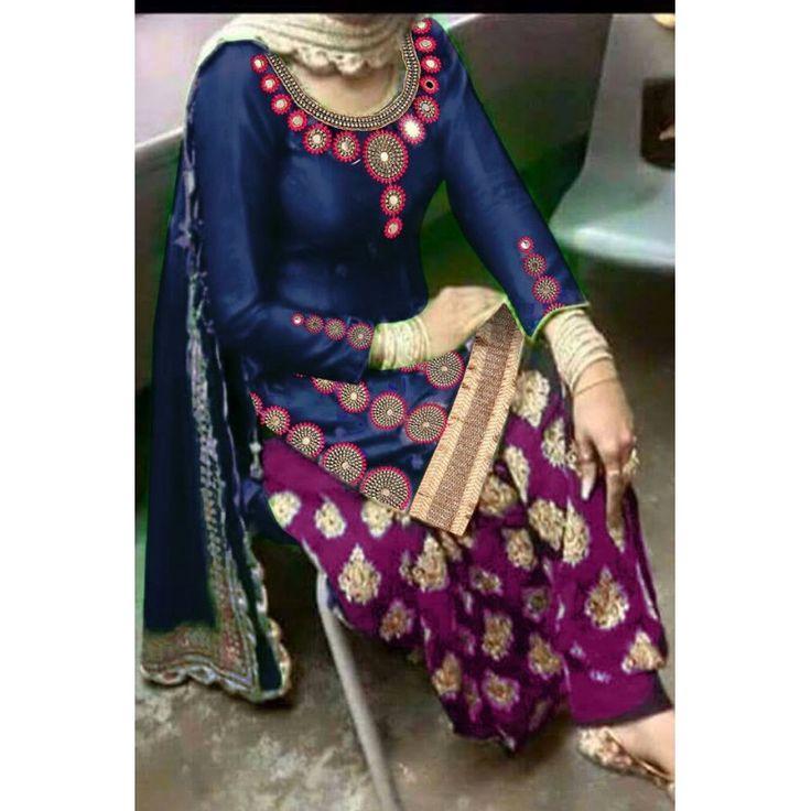Designer Navy Blue Pure Cotton Satin Mirror Work Patiala Salwar Kameez - Navy Blue ( IS-Karva Chauth )
