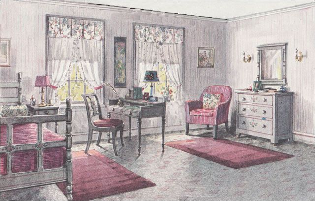 1923 Gray & Pink Bedroom - Bedroom Design of the 1920s - Vintage Inspiration from the 20th Century