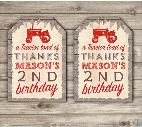 Red Tractor Thank You Tags Printable Invitations Rustic Wood Farm Burlap Barn Tractor Country Theme Party boy First Birthday Red Tractor