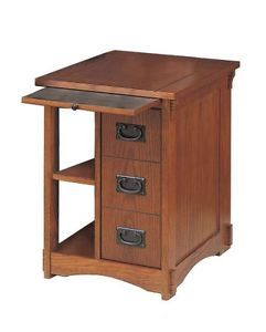Powell Furniture Mission Oak Magazine Rack Cabinet End Table Family Den  Storage