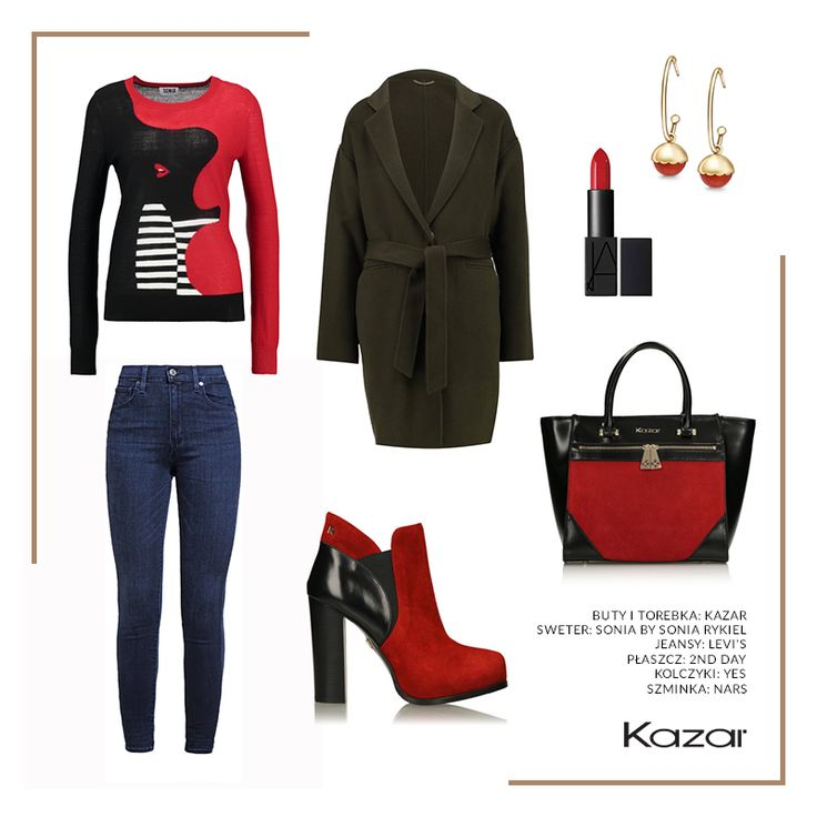 Pora na odrobinę awangardy! Ta stylizacja z pewnością Cię rozgrzeje w czasie jesiennych spacerów, a look przykuje uwagę innych! Zwłaszcza, gdy skórzane spodnie i czerwony sweter w kratę uzupełnisz modnymi w tym sezonie czerwono-czarnymi butami z trendu block heels. Dasz się namówić na to oryginalne połączenie?