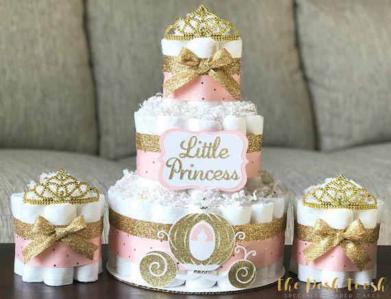 Torta de Princesa Tiara pañal bebé niña corona de oro rosa