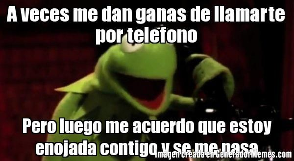 A veces me dan ganas de llamarte por telefono Pero luego me acuerdo que estoy enojada contigo y se me pasa   La rana Rene al habla meme   Crear Memes   Generador de Memes