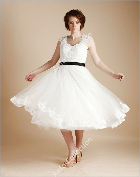 Vintage Inspired Tea Length Lace Tulle Keyhole Wedding Dress with Black Bow Sash/Cap Sleeves/Short Wedding Dress - give me a purple bow and purple shoes though :)