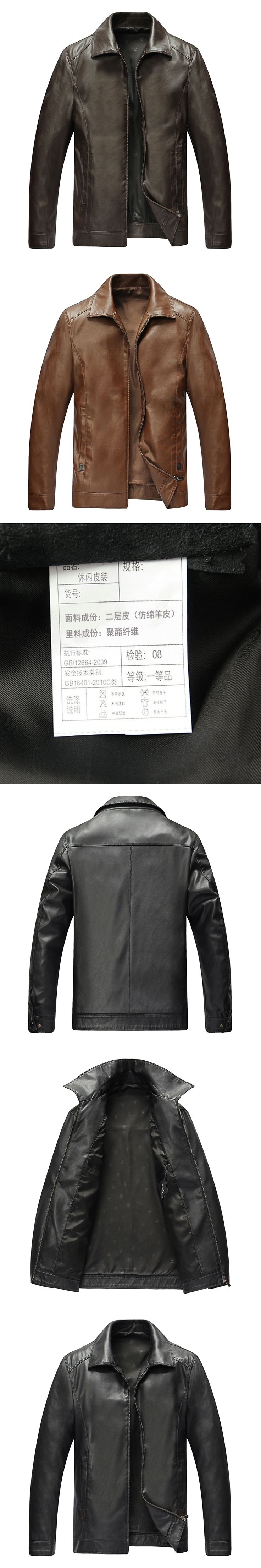Chinese Mens Tailored Leather Jackets Brown Cafe Black Chaqueta Turn Down Classcial Simple Style Full-Zip Fur Coat Man Overcoats
