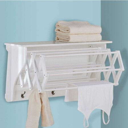 """Accordion Drying Rack ~ Closed: 35-3/4""""W x 9-3/4""""D x 18""""H; Extends to 28-1/2""""D ~ improvements catalog ~ collapses when not in use ~ great for laundry room"""