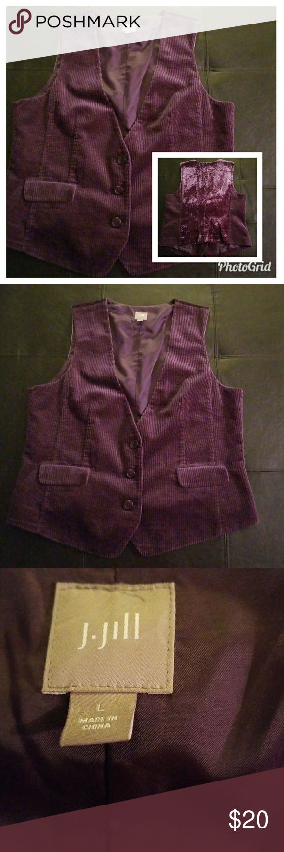 J. Jill Corduroy and Velvet Berry Purple Vest This is a very beautiful women's vest made by J.Jill. Color is berry purple and it is size large. Excellent, like new condition. Front panel 100% cotton Back panel 100% rayon Lining 100% polyester and it is machine wash cold with like color and tumble dry low. Vest has a 3 button front with 2 fake front pockets and it is RN number 97641. Measures 20.5 inches long and 23 inches armpit to armpit. J. Jill Jackets & Coats Vests