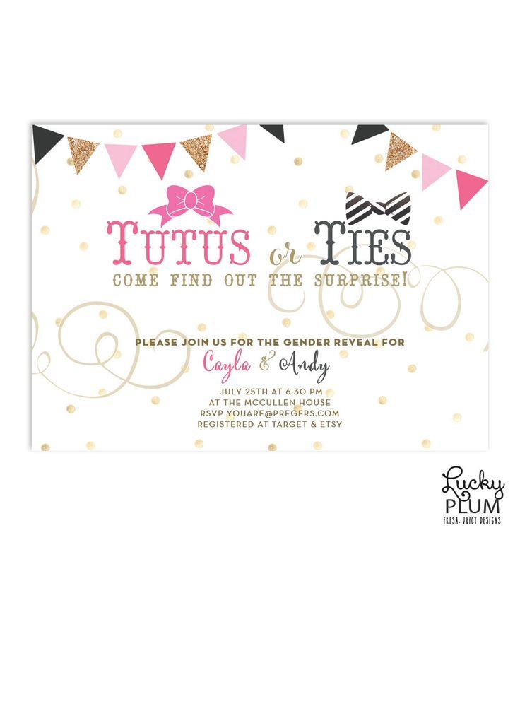 tutus ties baby shower invitation gender reveal baby shower invite couple coed baby shower invite bowtie necktie invite bunting
