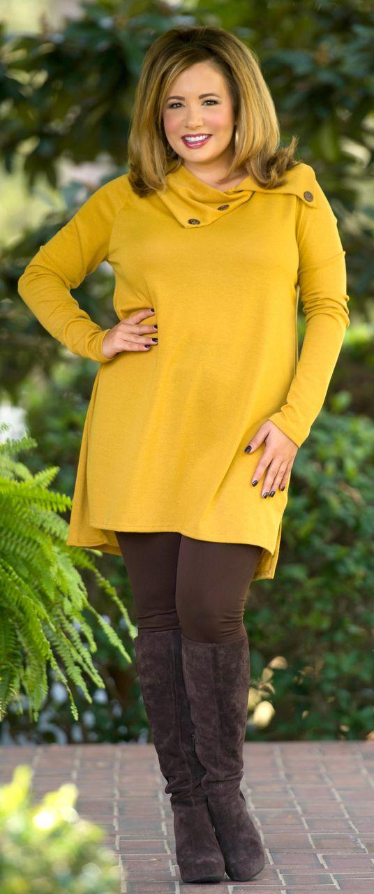 Cute As A Button Tunic - Mustard - Perfectly Priscilla Boutique
