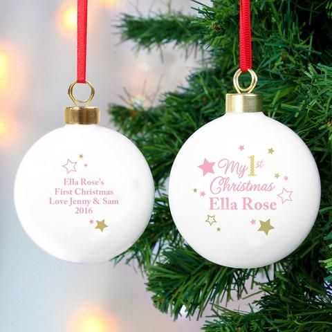 Personalised 1st Christmas Baubles | Personalised My 1st Christmas Bauble Pink | Vivabop | http://www.vivabop.co.uk/products/personalised-my-1st-christmas-bauble-pink