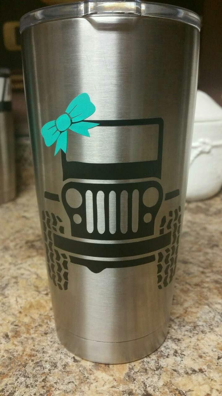 Jeep With Bow Decal Sticker Yeti Ozark Cup Cup Decal