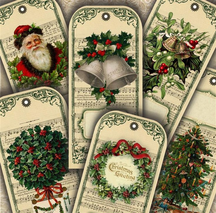Classic Vintage Christmas Tags Bookmarks Digital Printable