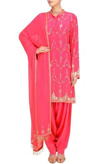 Anushka Khanna Hot Pink Jaal Embroidered Short Kurta and Patialla Set #happyshopping #shopnow #ppus