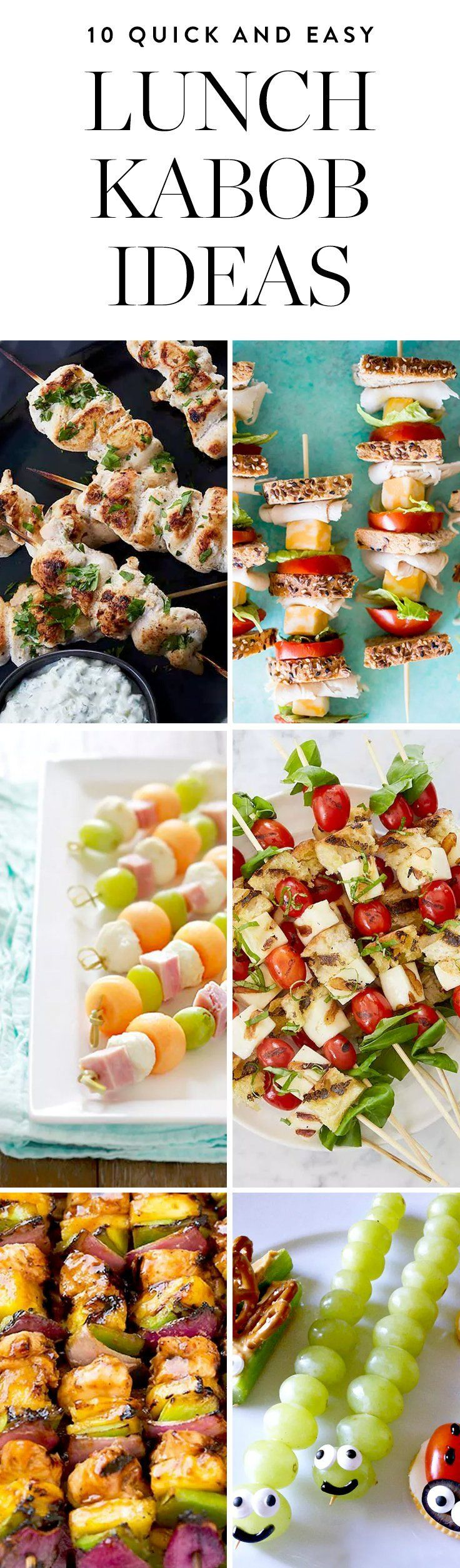 Presenting our new favorite way to eat lunch. Here are 10 quick and easy lunch kabob ideas that are perfect for school lunchboxes, the office or weekend picnics.