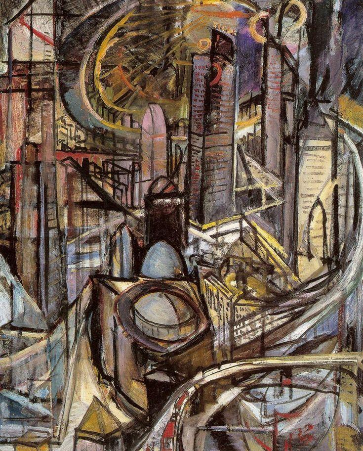 """Leon Chwistek """"Miasto fabryczne"""", 1920, olej na płótnie, 81 x 63 cm, Muzeum Narodowe, Warszawa"""