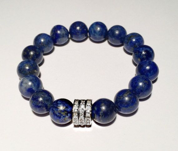Beaded Diamond and blue bracelet, Handmade diamond and blue lapis bracelet, lapis and diamond bracelet, FREE SHIPPING