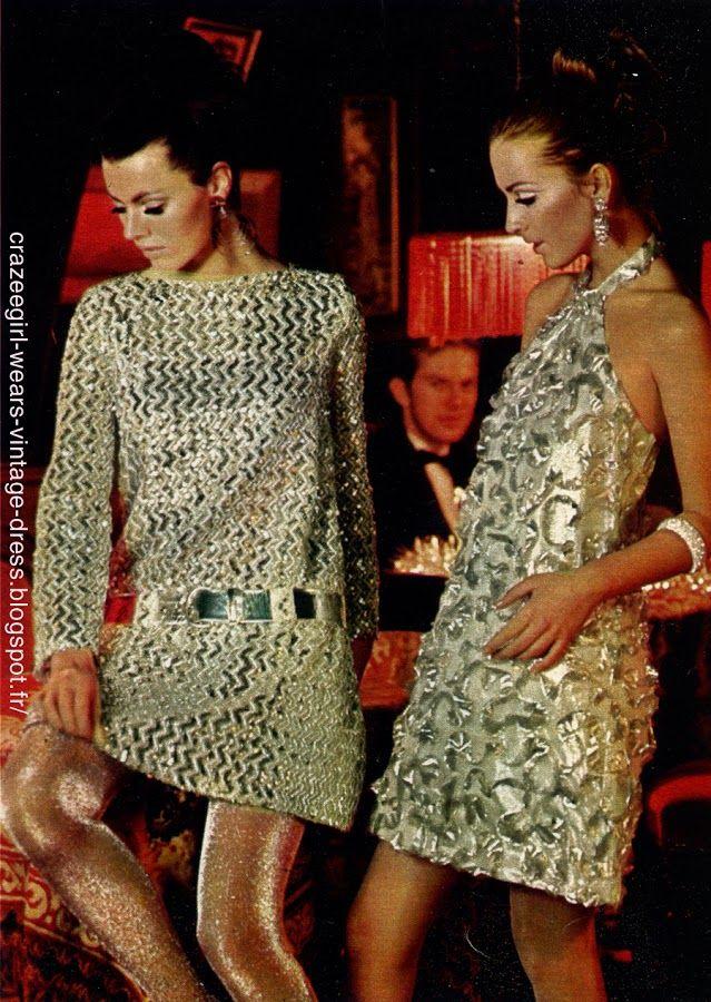 1966 party dress ! Lurex , louis feraud maxi librati metallic , silver , gold mod twiggy space age gogo cocktail robe reveillon vintage annees 60