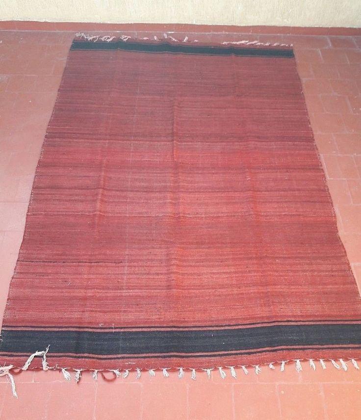 "old rug handmade moroccan berber tribal hanbal blanket kilim carpet  8'1""x5'1"" #Handmade #NorthAfrican"