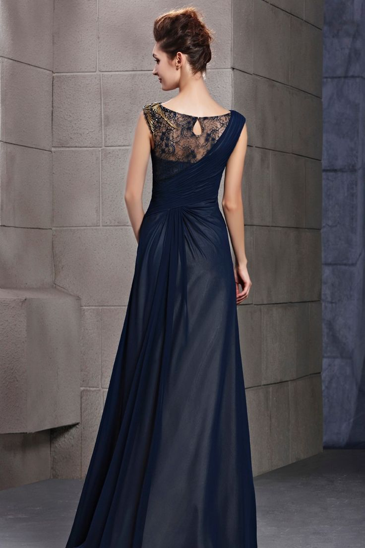 A-line Floor Length Draped Asymmetrical Lace Dress