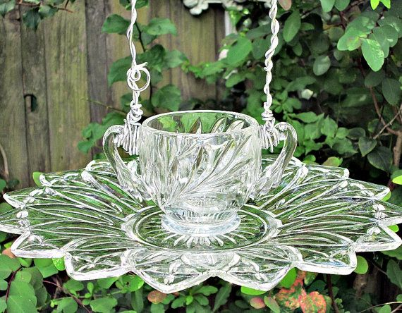 Vintage Glassware Bird Feeder Garden Whimsy - As Featured in Flea Market Gardens Magazine