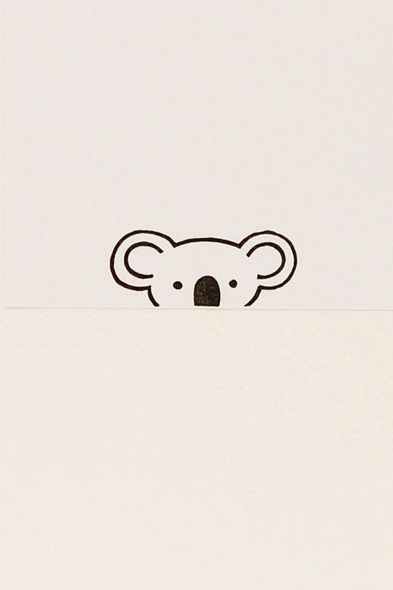 A friendly Koala peek-a-boo stamp – Small hand carved simple rubber stamp – funny animal stamp