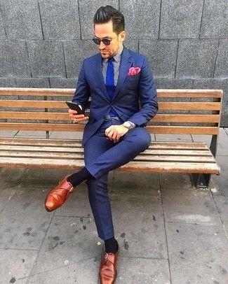 20febee0 Cómo combinar: corbata de punto azul, zapatos con hebilla de cuero en  tabaco,