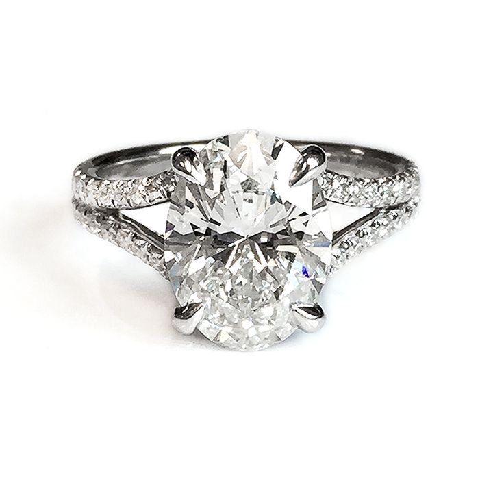 Fink's Platinum Oval Cut Diamond Split Shank Engagement Ring - Fink's Jewelers