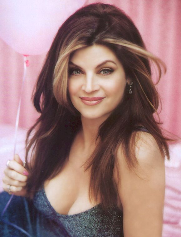 Always loved Kirstie Alley's hair!  Long dark with highlights just around face. Want