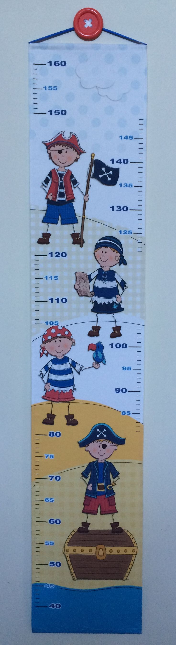 Pirates Height Chart Measurements from 40cm up to 160cms. Perfect to remember your little boys height at all his milestone ages.