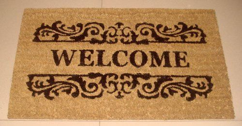 Welcome - Printed Coco Doormat - Heavy Duty Outdoor Premium Coir Mat 18x30 by Iron Gate - Extremely durable - Traps dust - Welcome your guests with this high quality doormat by Iron Gate. $15.99. Printed Coir doormats are made from 100% coconut husks.. These extremely durable mats will keep their appearance for a long time even in high traffic areas.. Care: To clean your coir mat simply shake the rug to clean it, or you can choose to hose or scrub it.. The bristled coco fib...