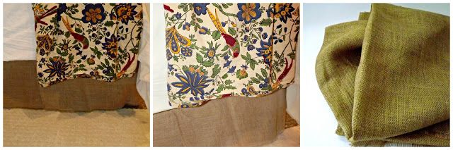 Velcro, burlap bed skirt!  Cheap and easy...  In a good way!  Transitional and organic!
