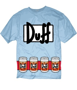 The Simpsons Duffman Costume Beer Belt Print Sky Blue Adult T-shirt