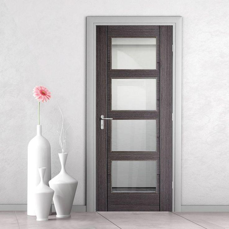 Vancouver Ash Grey 4L Internal Door with Clear Safety Glass. #glassdoor #internaldoor #moderndoor