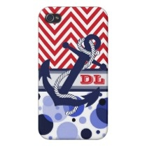 Nautical Zigzag Waves. Customizable, unique, stylish, trendy and pretty iPhone 4 case. With popular red white zig zag chevron pattern, anchor, blue polka dots design, and room for your monogram or initials. Cute and fun birthday present or Christmas gift for mom or dad, the boater, the ocean or sea lover, sailor or recreational captain, or those who want a classy, chic and cool phone cover. Also available for iPhone 3 and 5, Samsung Galaxy S2 and S3, iPod Touch, and Motorola Droid Razr.