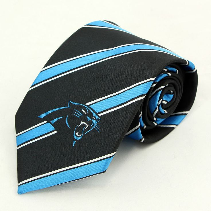 carolina panthers stripe mens necktie nfl football team