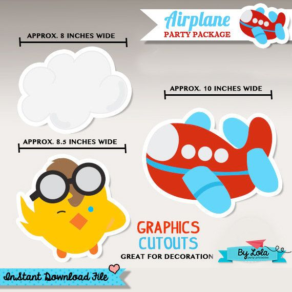 Instant Download - Airplane Birthday Party/Baby Shower Large Graphics Cutouts - Aeroplane Aviator Graphics Printable PDF File  by ByLolaPrintables