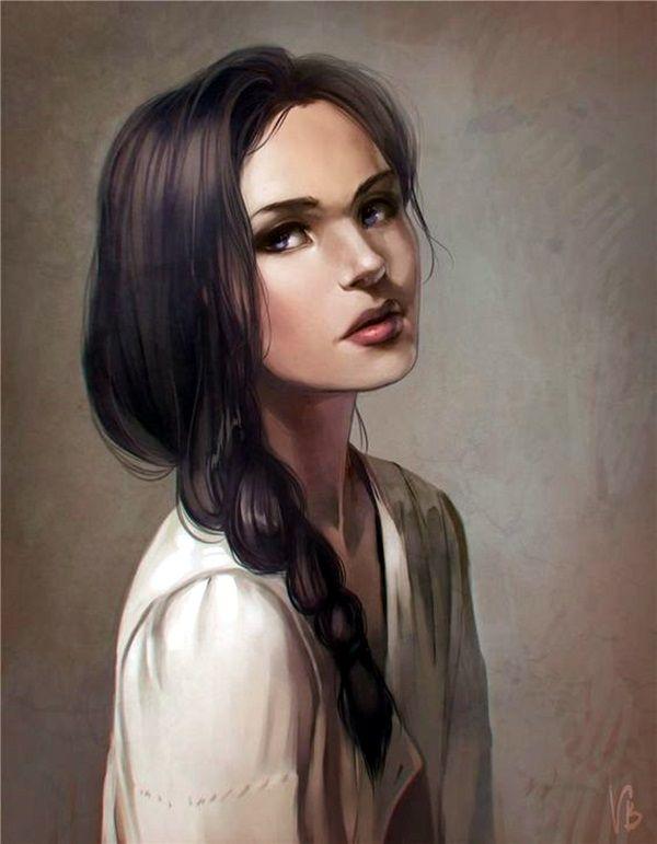 Ураза, рисованные картинки девушки брюнетки