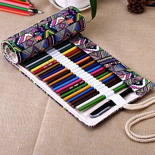 Pencil Case Huhuhero 72 Color Pencil Holder Organizer Art Colored Pencils Roll up Pouch Canvas Pen Bag for School Office Art for Students Artist Hobbyist (Pencils Not Included))