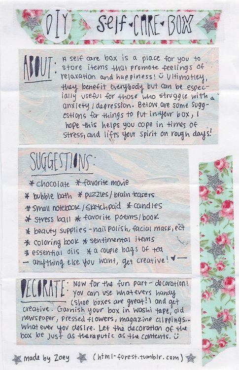 recovery/mental-health/advice blog self care box...