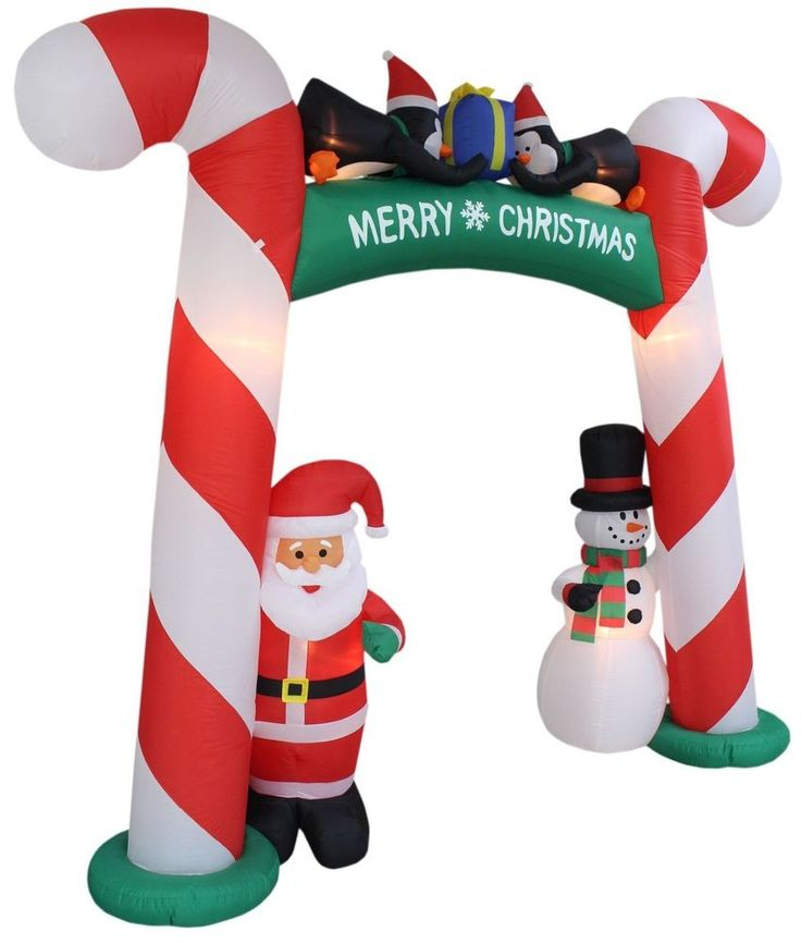 8 Foot Tall Candy Cane Archway Inflatable Christmas ...