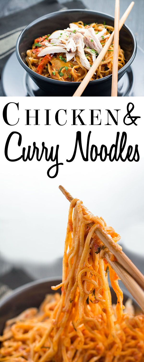 This delicious recipe for Chicken and Curry Noodles is a creamy, tangy, Thai style curry that makes a simple supper, perfect for feeding the family. via @Erren's Kitchen