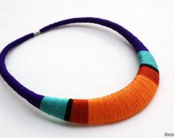 Verklaring ketting gehaakte ketting textiel van estudioshop op Etsy